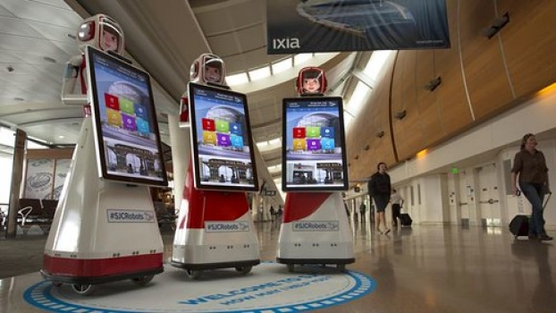 """Robots arrive at Silicon Valley airport • <a style=""""font-size:0.8em;"""" href=""""http://www.flickr.com/photos/139546847@N02/30004034084/"""" target=""""_blank"""">View on Flickr</a>"""