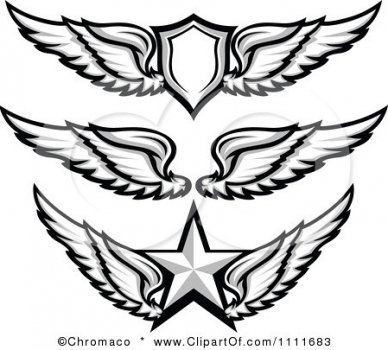 """1111683-Clipart-Grayscale-Wing-Badges-With-A-Shield-And-Star-Royalty-Free-Vector-Illustration • <a style=""""font-size:0.8em;"""" href=""""http://www.flickr.com/photos/139546847@N02/30318293925/"""" target=""""_blank"""">View on Flickr</a>"""